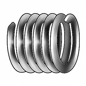 "0.086"" 304 Stainless Steel, Dry Film Lubricant Helical Insert, 2-56 Internal Thread; PK100"