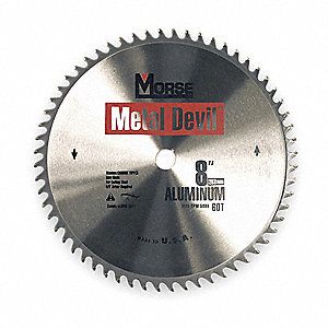 "8"" Carbide Metal Cutting Circular Saw Blade, Number of Teeth: 60"