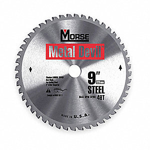 "9"" Carbide Metal Cutting Circular Saw Blade, Number of Teeth: 48"
