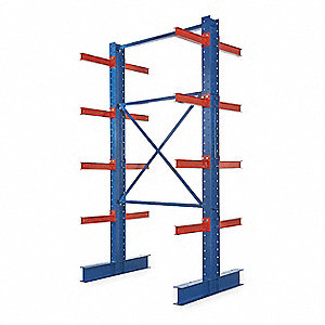 16 ft. 16 Arm 60,800 lb. Capacity Steel I-Beam Cantilever Rack Starter Unit, Blue Powder Coated
