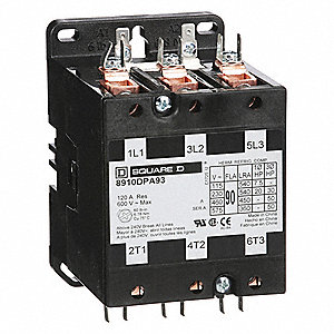 120vac definite purpose contactor; no of poles 3, 90 full load amps inductive Cutler Hammer Contactor Wiring