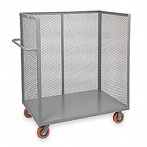 "54""L x 30-1/2""W x 57""H Gray Welded Steel 3-Sided Stock Cart, 3600 lb. Load Capacity, Number of Shelv"