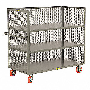 "54""L x 24-1/2""W x 57""H Gray Welded Steel 3-Sided Stock Cart, 3600 lb. Load Capacity, Number of Shelv"