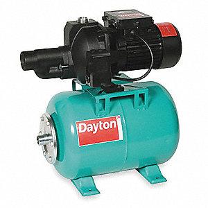 DAYTON 3/4 HP Shallow Well Pump/Jet Tank, 9 5/4 7 Amps, 1-1