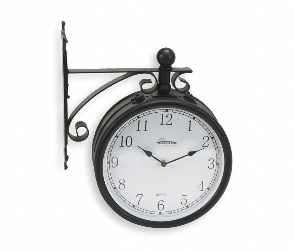 Analog Double Sided Clock,Wall,Black
