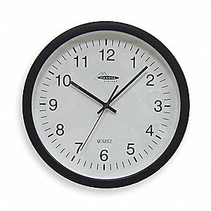 "13-3/4"" Wall Mount Round Analog Quartz Clock, Black"
