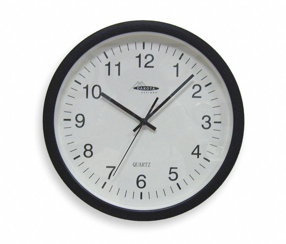 Analog Clock,13-3/4 In,Black