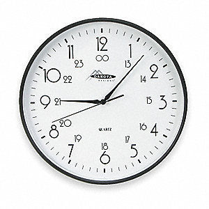 "12"" Wall Mount Round Analog Quartz Clock, Black"
