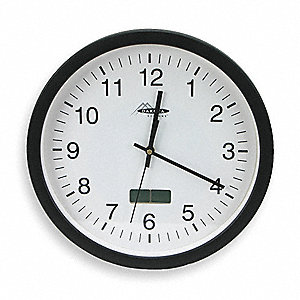 "Analog Wall Quartz Clock, Black, 12-1/8"" Round"
