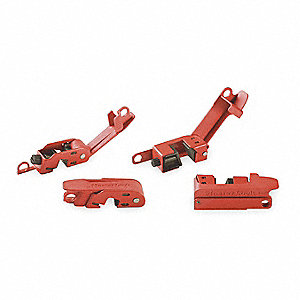 "Single Pole Breaker Lockout, Clamp-On, 120/277, Red, 9/32"" Padlock Shackle Max. Dia., 1 EA"