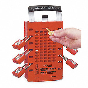 Group Lockout Box,14 Locks Max,Red