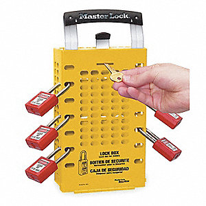 "Yellow Steel Group Lockout Box, Max. Number of Padlocks: 14, 12-3/4"" x 6-3/8"""