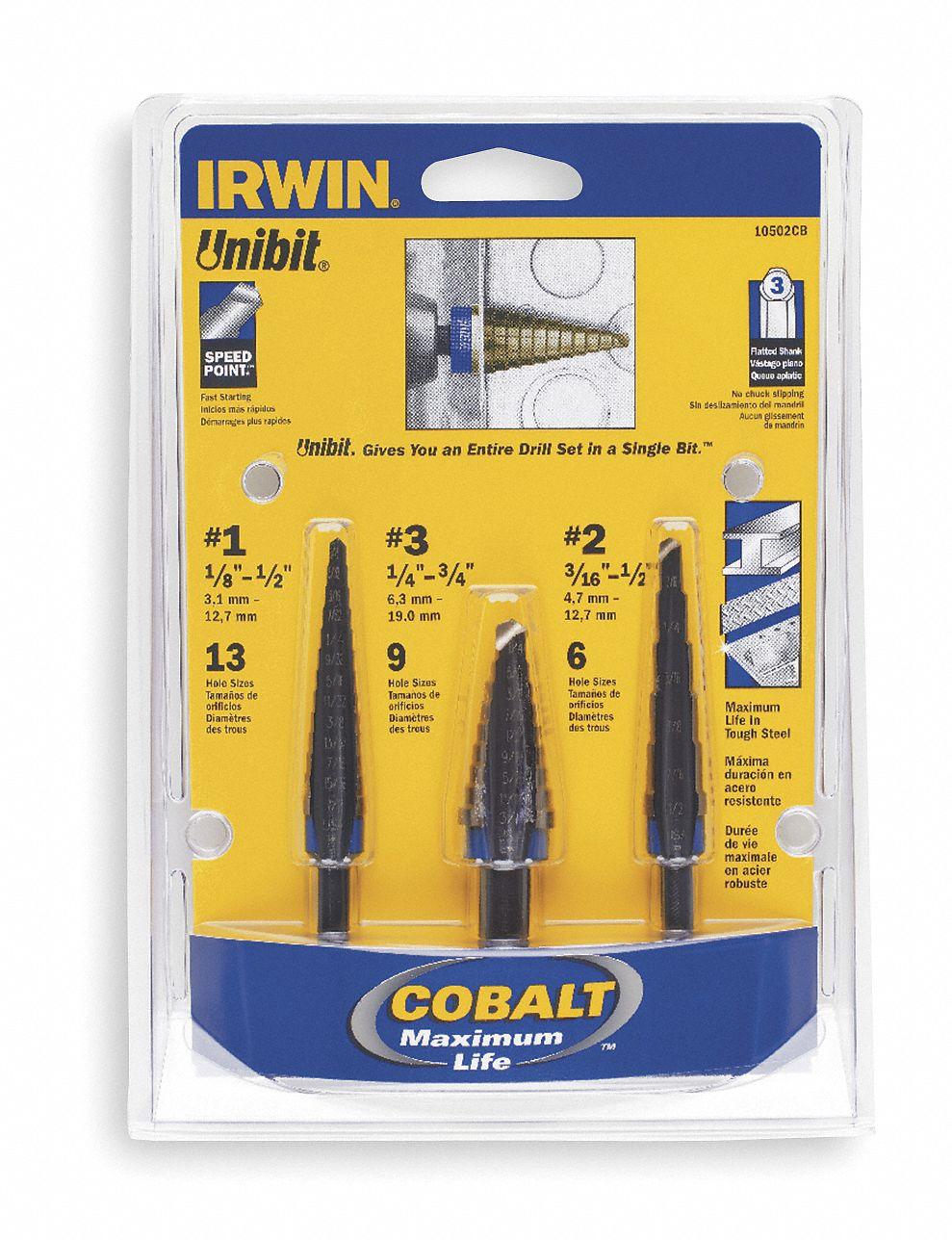 VSG-10502 Irwin Tools 3 PC UNIBIT Set