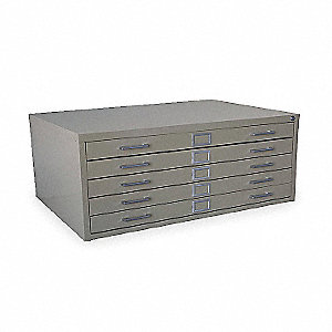 "53-3/4"" x 41-5/16"" x 16-7/64"" 5 Drawer, Large Flat File Cabinet, Putty"