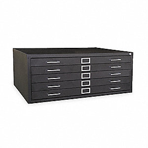 "46-45/64"" x 35-13/32"" x 16-7/64"" 5 Drawer, Medium Flat File Cabinet, Black"