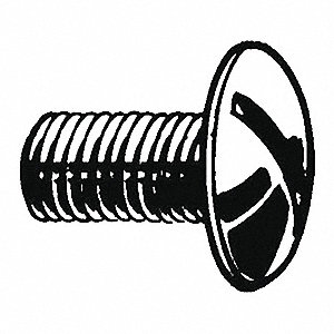 #10-24 Machine Screw with Truss Head Type, Plain Finish, 18-8 (304) Stainless Steel, 50 PK