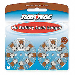 1.4 Volt Hearing Aid Battery, Brown&#x3b; PK16