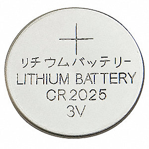 Lithium Coin Cell, Voltage 3, Battery Size 2025, 1 EA