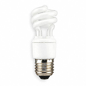 7.0 Watts Screw-In CFL, T2, Medium Screw (E26), 400 Lumens, 2700K Bulb Color Temp.