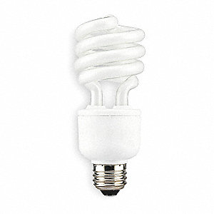 20 Watts Screw-In CFL, T2, Medium Screw (E26), 1200 Lumens, 4100K Bulb Color Temp.