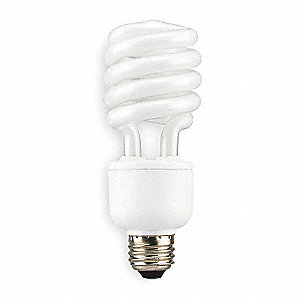 23 Watts  Screw-In CFL, T2, Medium Screw (E26), 1600 Lumens 4100K Bulb Color Temp.