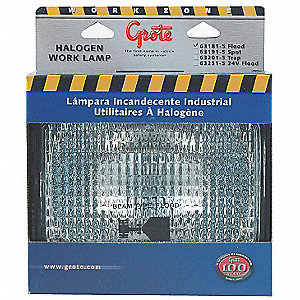"Work Light, ,Rectangular,Halogen,5-1/2""H"
