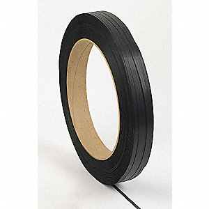 4500 ft. Plastic Strapping with Embossed Finish, Black; Break Strength: 400 lb.