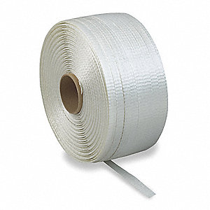 1320 ft. Plastic Strapping with Woven Finish, White; Break Strength: 1830 lb.