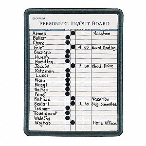 "In/Out Board, Black Frame Color, 11"" Width, 14"" Height"
