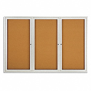 "Indoor Enclosed Bulletin Board, Cork, Natural Board Color, 72"" Width, 48"" Height"
