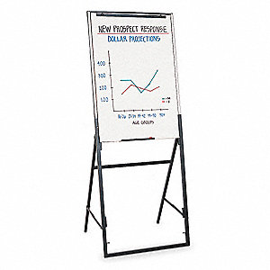 Gloss Finish Melamine Dry Erase Board Easel Mounted Portable Carry 26 H X 35 W White