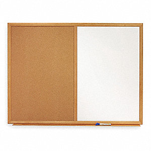 "Natural Melamine/Cork Combination Bulletin Board, Wood Frame Material, 36"" Width, 24"" Height"