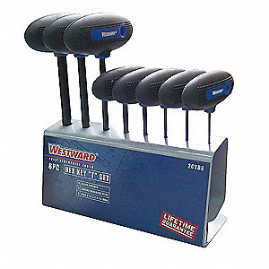 Long T-Shaped Ergonomic Metric Black Oxide Hex Key Set, Number of Pieces: 8
