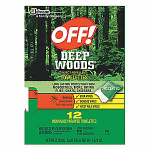 "25.00% DEET Outdoor Only Insect Repellent Wipes, 6"" x 6"" Wipes"