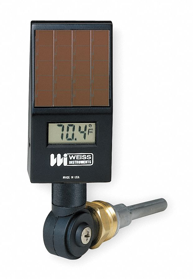 Digital Solar Powered Thermometer,  Lower, Variable Angle Connection Location