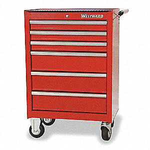 Rolling Tool Cabinet,27 In W,6 Drawer