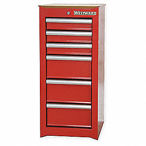 "Red Side Cabinet, 15"" Width x 18""  Depth x 33-3/4"" Height, Number of Drawers: 6"
