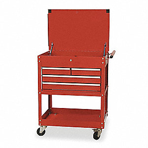 "Red Standard Duty Tool Utility Cart, 38"" H X 30"" W X 20"" D, Number of Drawers: 4"