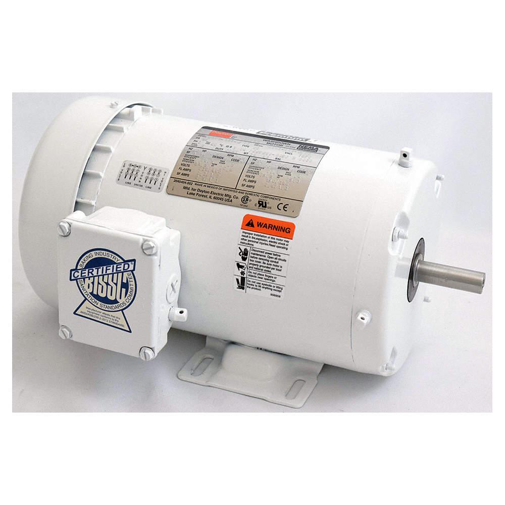 3/4 HP Washdown Motor,3-Phase,1745 Nameplate RPM,230/460 Voltage,Frame 56