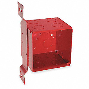 Electrical Box,Square,40.5 cu. in.,Red