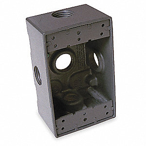 Weatherproof Electrical Box, 1-Gang, 5-Inlet, Aluminum