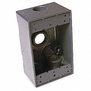 Weatherproof Electrical Box, 1-Gang, 4-Inlet, Aluminum