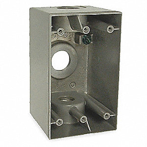 Weatherproof Electrical Box, 1-Gang, 3-Inlet, Aluminum