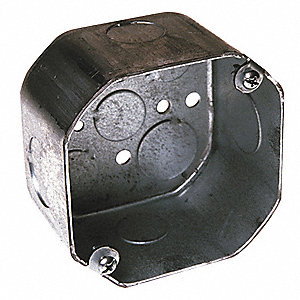 "Electrical Box, Galvanized Steel, 2-1/8"" Nominal Depth, 4"" Nominal Width, 4"" Nominal Length"