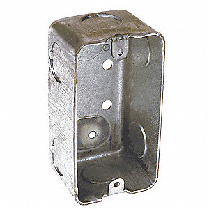 "Electrical Box, Galvanized Steel, 1-7/8"" Nominal Depth, 2"" Nominal Width, 4"" Nominal Length"
