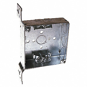 "Electrical Box, Galvanized Steel, 1-1/2"" Nominal Depth, 4"" Nominal Width, 4"" Nominal Length"