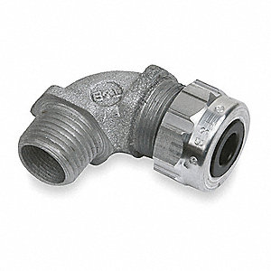 "2-1/32""L Aluminum Liquid Tight Cord Connector, Silver, 0.31"" to 0.56"" Cord Dia. Range"