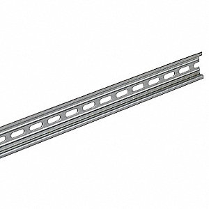 "DIN Mounting Channel, Galvanized Steel, Prepunched, 78.00"" Length, 1.38"" Width, 0.29"" Height"