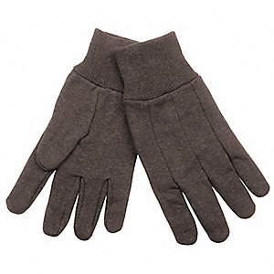 Cotton Jersey Gloves, Knit Cuff, 8.5 oz. Fabric Weight, Brown, L, PR 1