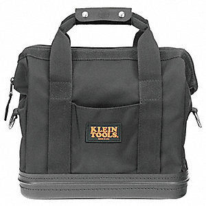 "10-Pocket Nylon General Purpose Wide-Mouth Tool Bag, 14-1/2""H x 15""W x 8""D, Black"